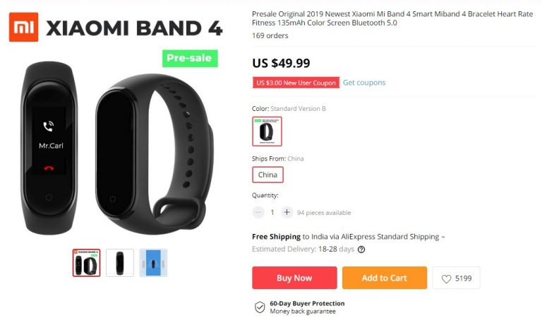 Xiaomi Mi Band 4 is Available for Pre-Order