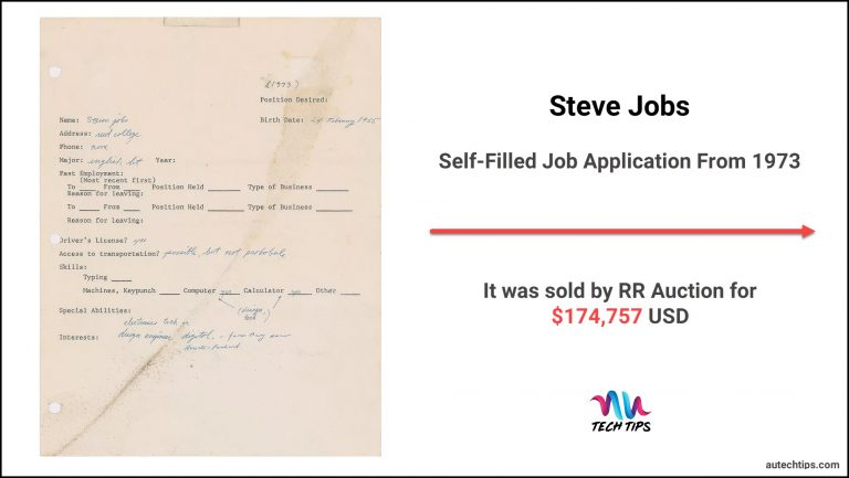 Steve Jobs Self-Filled Job Application From 1973